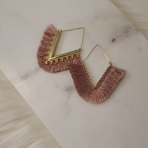 Anthropologie Jewelry - New Dark Pink and Gold Fringe Triangle Earrings